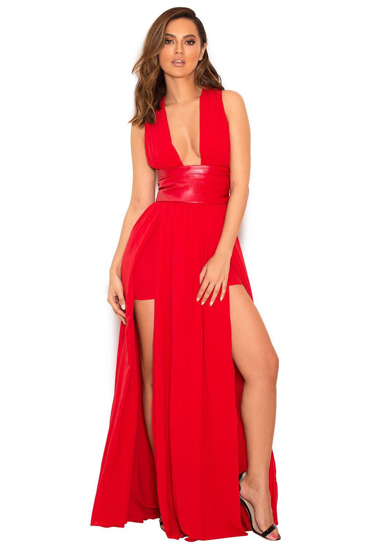 Red Chiffon Maxi Dress