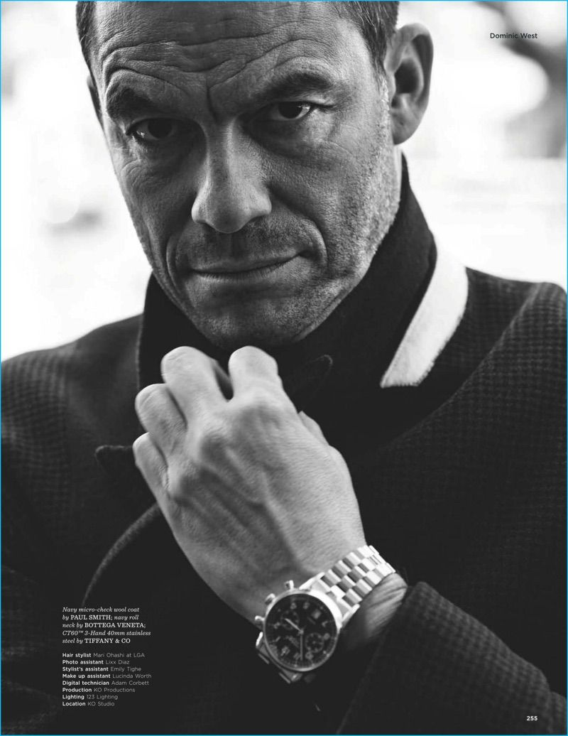 Dominic West Captured In A Black White Photo Wearing A Micro Check Wool Coat From Paul Smith With A Bottega Veneta Knit A Dominic West Fun Workouts Gq Style