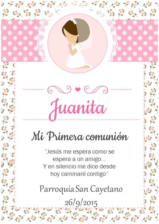 Regalos Para Nina De 9 Anos Comunion.Tarjetas Para Recuerdos De Comunion Invitacion Primera