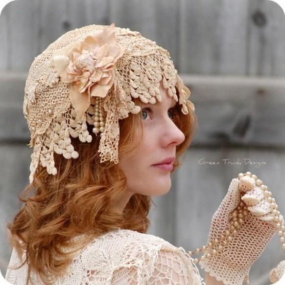 Bridal Cap Veil Made Of Vintage Lace Flapper Style