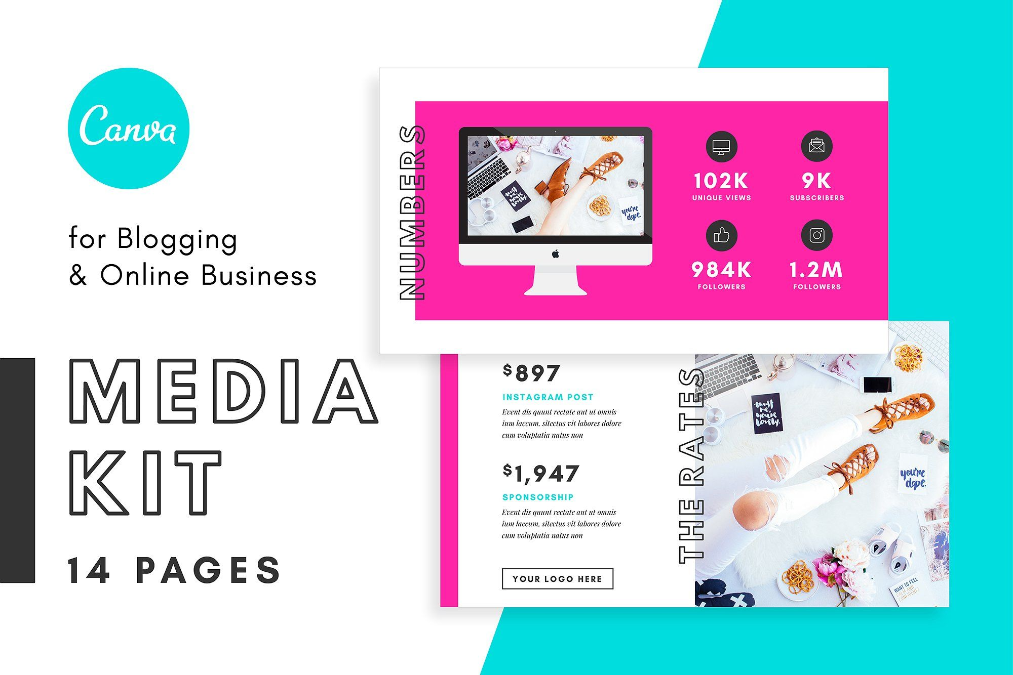 Media Kit/Proposal Bloggers Canva kitinstructionsdesign