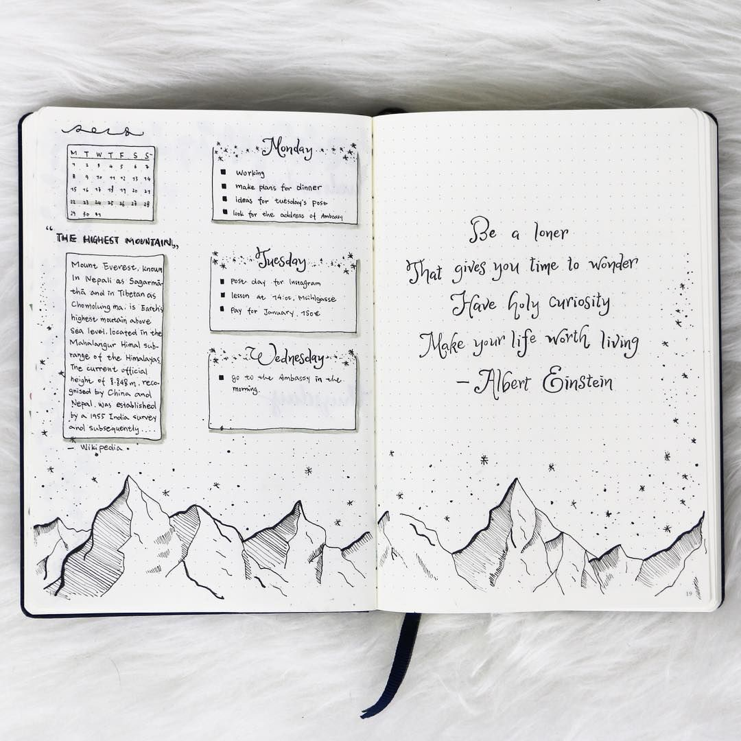 Bullet journal weekly layout, mountains drawing, cursive header ...