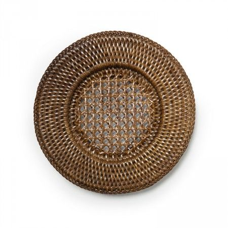 Rattan Placemat Recessed Mini Brown Placemats Rattan Country Chic