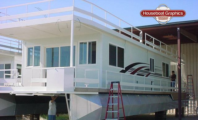 Houseboatgraphicscustomstripingboatvinyldecals Graphics - Custom designed houseboat graphics