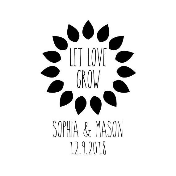 Custom Sunflower Stamp, Personalised Seed Favours Stamp