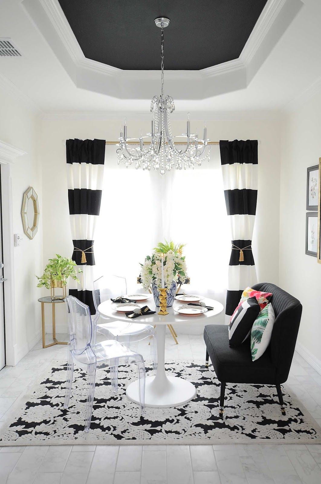 Black And White Striped Curtains Frame A Small Dining Room Space With Audubon Floral And Botan Black Dining Room White Dining Room Black And White Dining Room #white #drapes #in #living #room