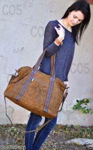 Women's Canvas Duffle Bag Military Handbag Over Night Distressed Camel Brown