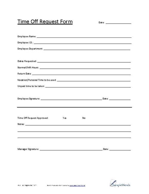 Time Off Request Form - time off request form sample