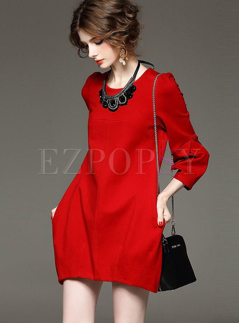 Pure Color Long Sleeve Shift Mini Dress Fitted Knit Dress Long Sleeve Mini Dress Long Sleeve Shift Dress [ 1066 x 789 Pixel ]