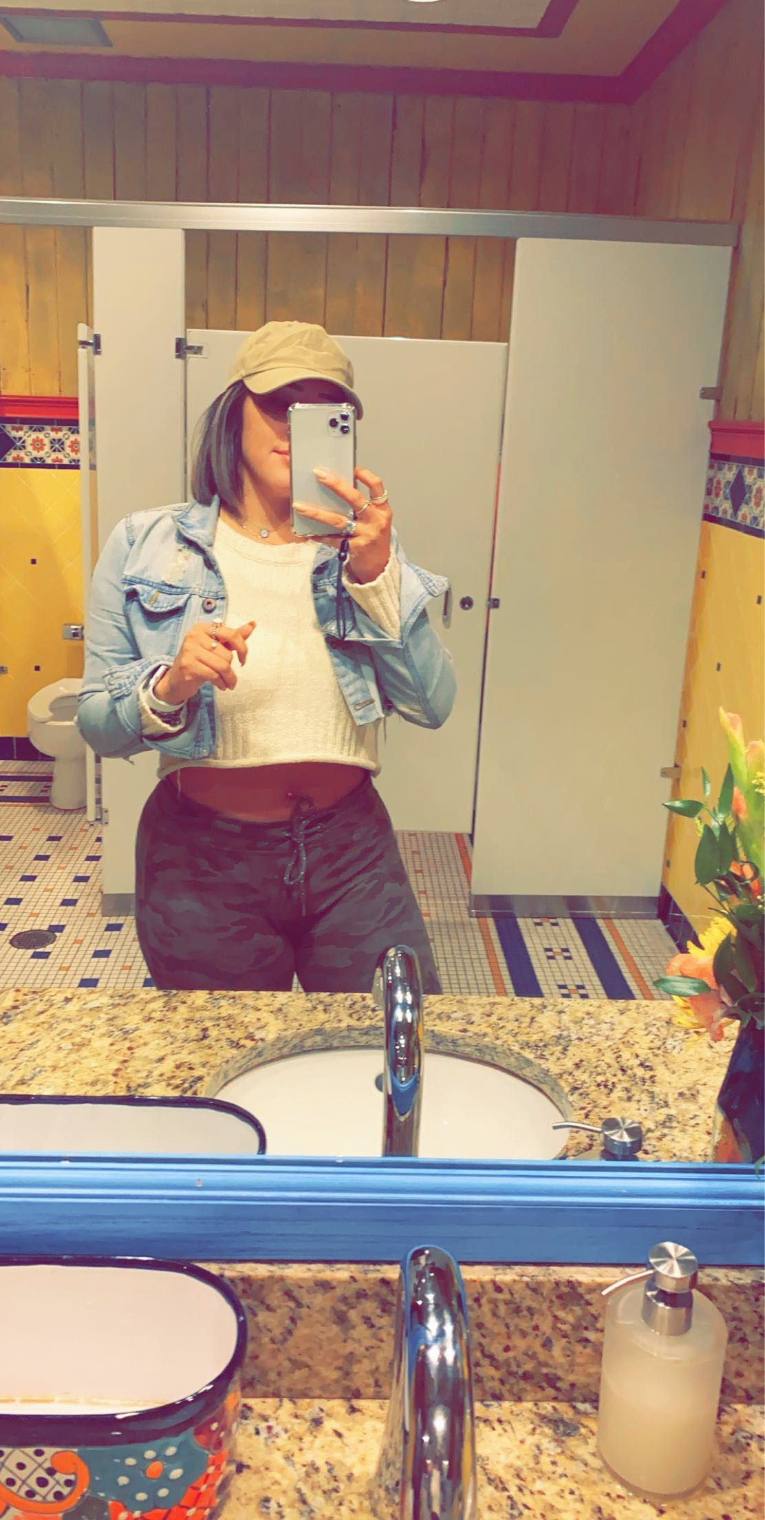 Cropped sweaters and jean jacket weather Nothing screams fall casual like sweatpants cropped sweater baseball cap and a jean jacket