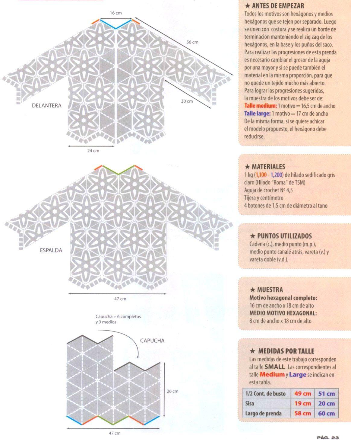 Chaqueta+con+Capucha+Patron-3.jpg (1164×1464) | crochet | Pinterest ...