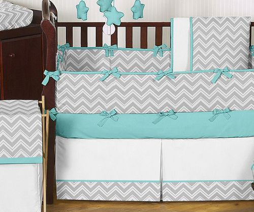 Cheap Modern Grey Turquoise White Unisex Baby Bedding Crib Set For