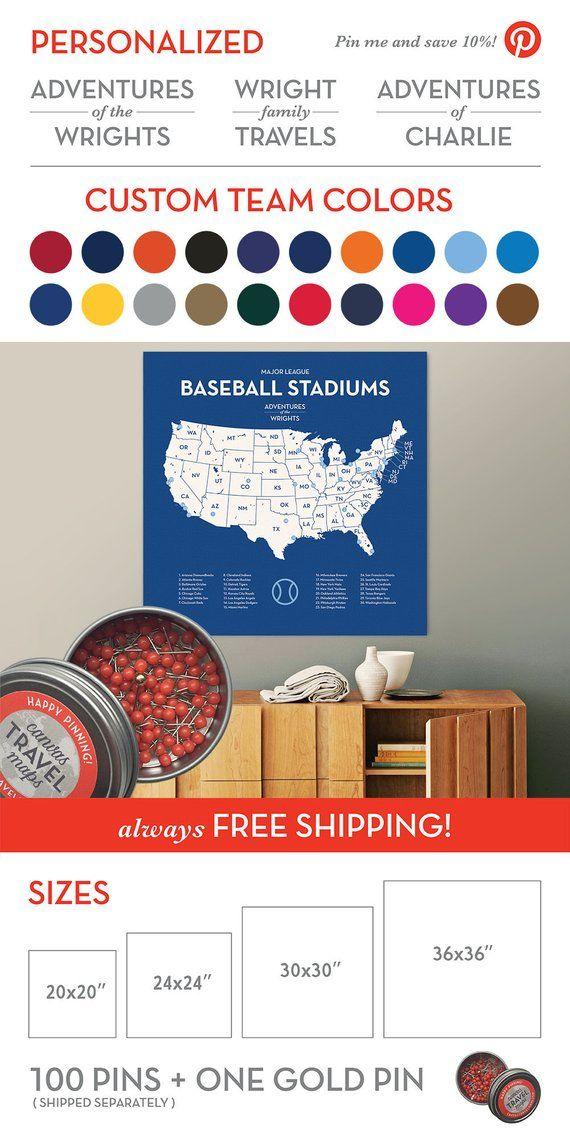 Kids Baseball Stadium Map Ballpark Travel Quest with push pins ...