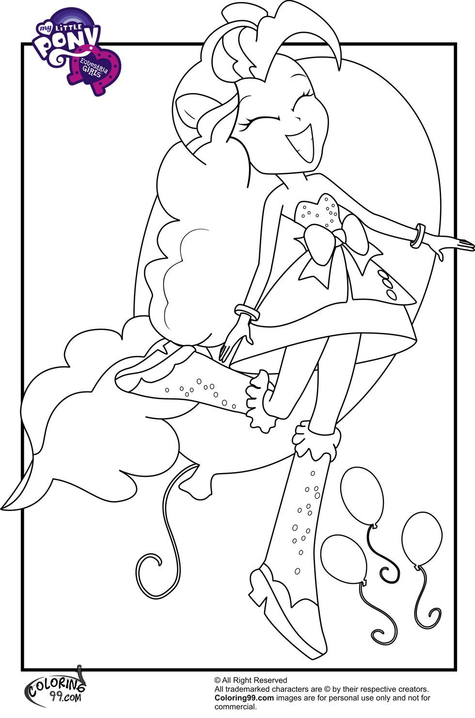 Pinkie pie equestria girl My little pony coloring