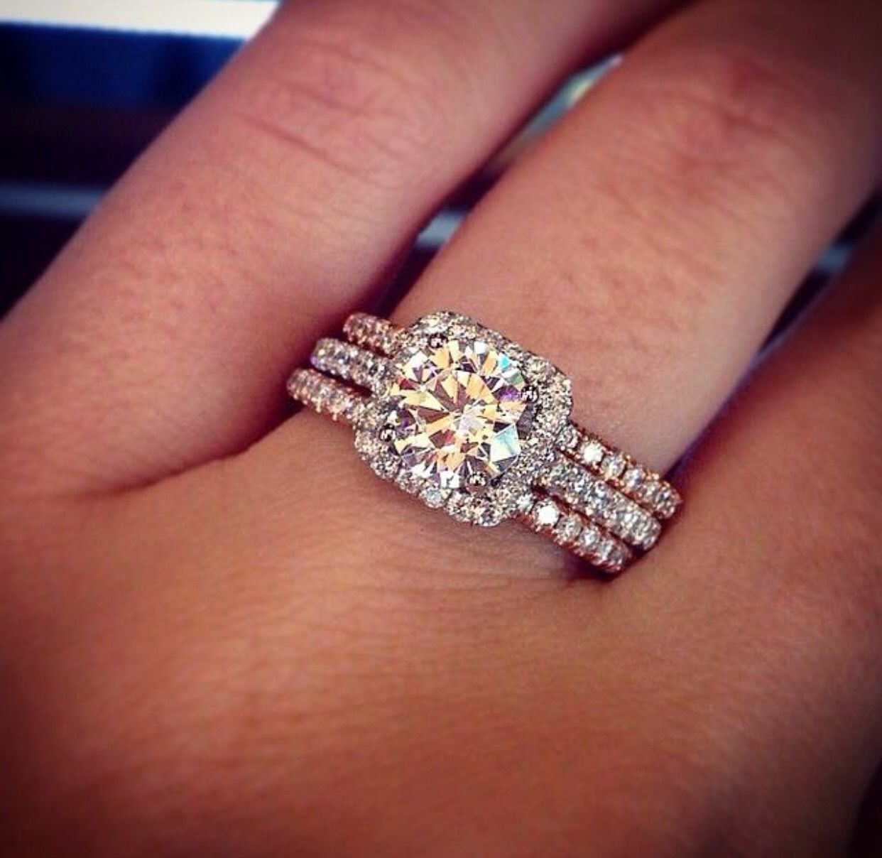 Dream Platinum Engagement With Rose Gold Bands Rose Gold Engagement Ring Wedding Rings Rose Gold Wedding Rings