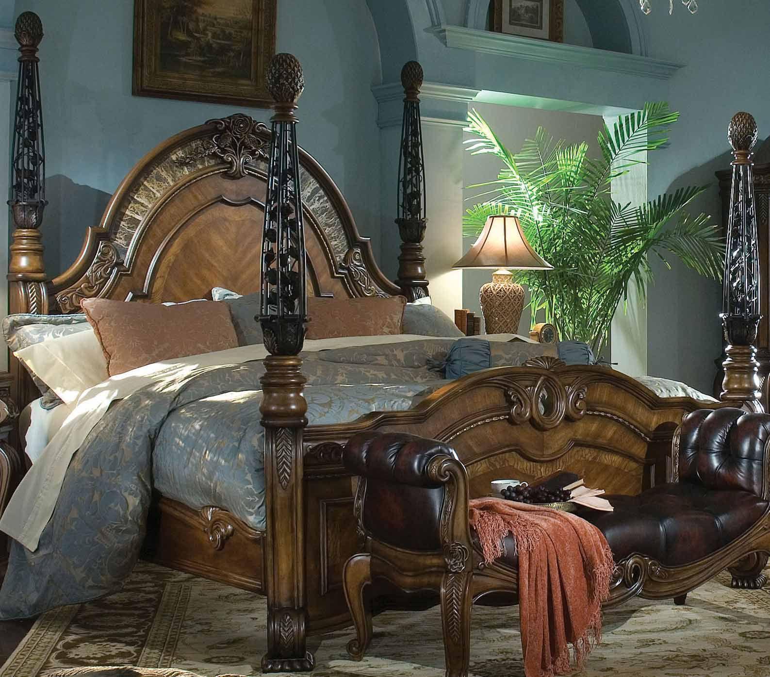 AI 67000Q 52 AICO Oppulente Queen Poster Bed $2217.00