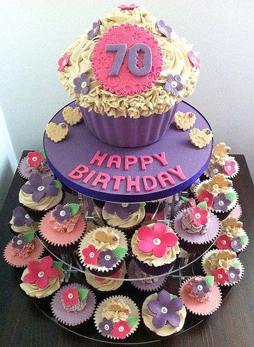 70th Birthday Cupcake Tower Brenda S 70th Birthday