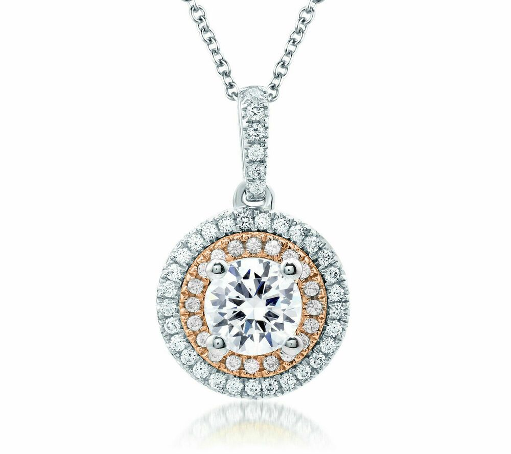 """1.50 ct Round Solitaire Halo Solid 14K White Gold Pendant Necklace 16/"""" Chain"""
