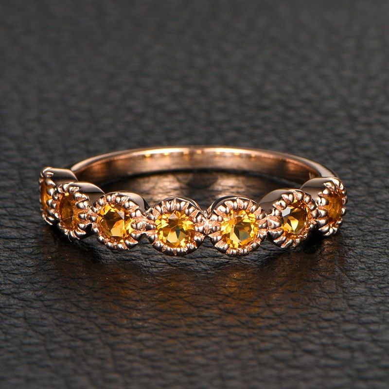 Citrine Wedding Band Eternity Anniversary Ring 14k