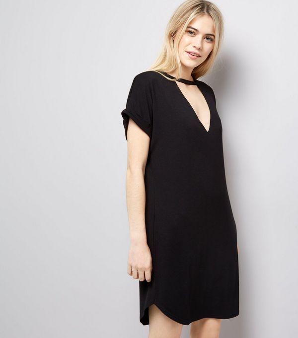 Limited Edition Online Cheap Sale High Quality Womens Choker Neck T-Shirt Dress New Look Great Deals Online How Much Sale Online Ja8Mjff