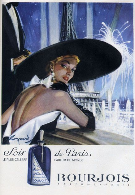 This reminds me of the pictures we used to have in our apartment growing up    Bourjois Soir de Paris 1952