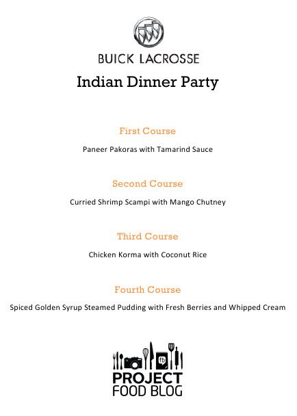 Indian Dinner Party Menu