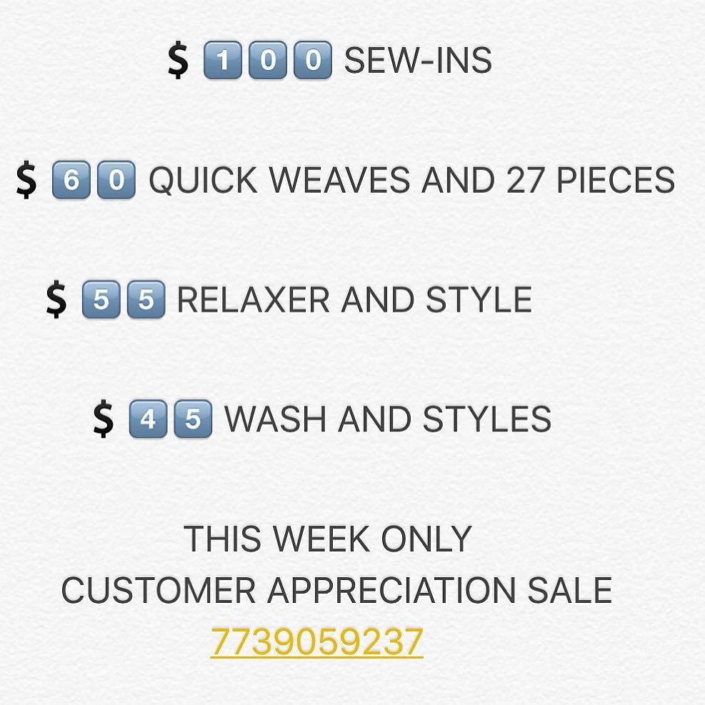This week only! Text for new location address.... have u made ur appointment yet? 7739059237 #traycbstyles #chicagohairstylists #chicagohairstylist #chicagostyles #chicagohairlife #chicagohairsalon #chicagohair #weaveologist #weavemaster #weavekilla #weaver #weaves #weavespecialist #weave #pixielife #hairtrends #haircuts #hair #relaxedhair #naturalhair #weaving #bookme #comegetprettyhunny #jandghairboutique #atlantastylist #lahair #illinoisstylist #clevelandstylist #newyorkstylist…
