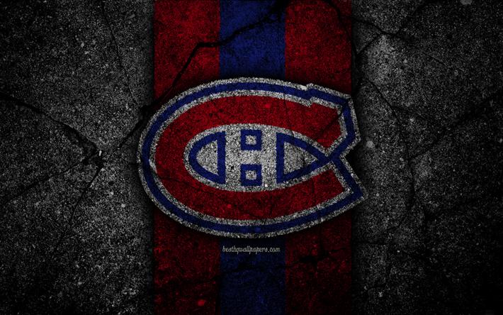 Download Wallpapers 4k Montreal Canadiens Logo Hockey Club Nhl Black Stone Eastern Conference Usa Asphalt Texture Hockey Atlantic Division Besthqwallp Montreal Canadiens Canadiens Hockey