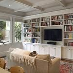 living rooms - coffered ceiling TV white built-ins cabinets red blue Oriental rug sand beige microfiber sofa ivory throw gray walls  Comfy, cozy