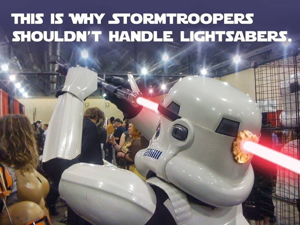 This is why Stormtroopers should never handle lightsabers
