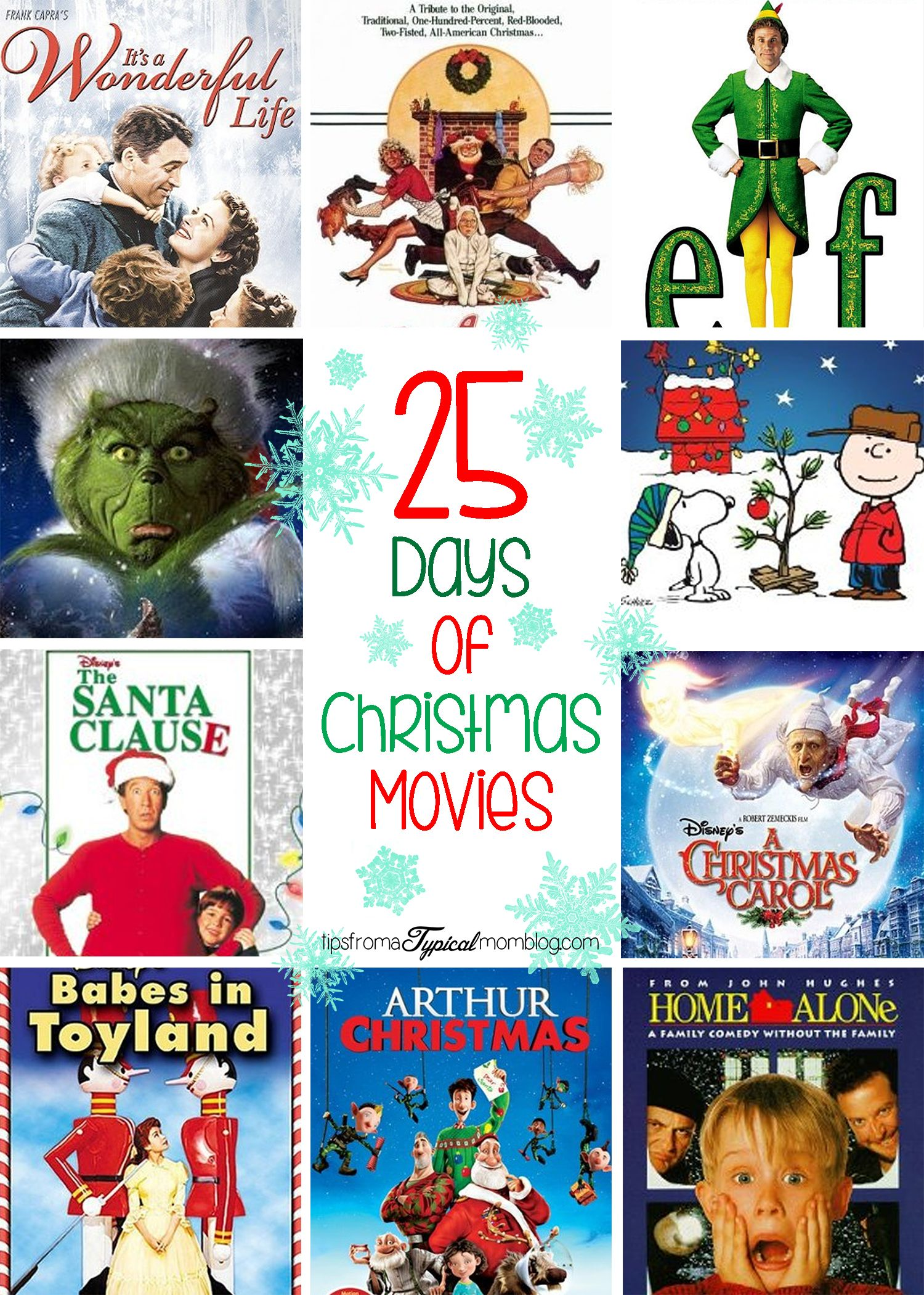 25 Days Of Christmas Movies Tips From A Typical Mom 25 Days Of Christmas Christmas Movies Christmas Diy