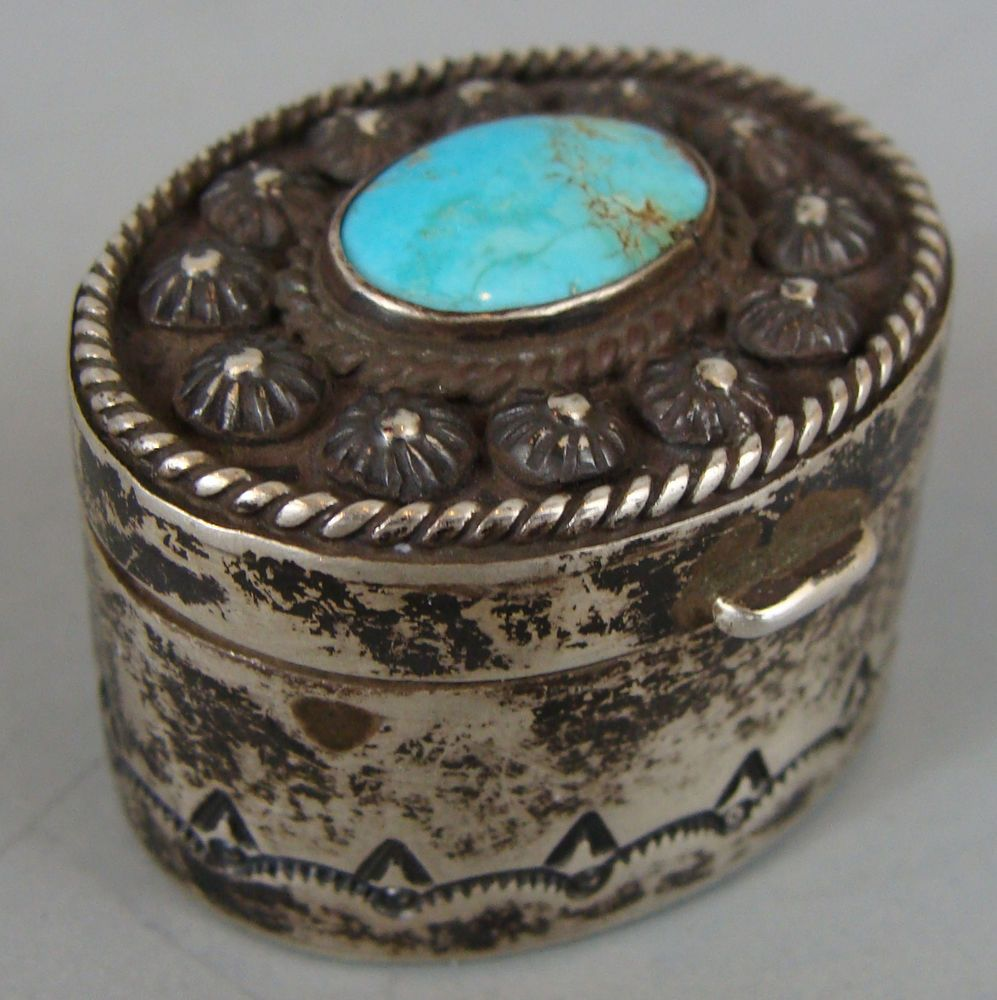 HEAVY Unusual Oval Vintage NAVAJO High GradeTurquoise Silver Pill Box in Native American (pre-1935) | eBay