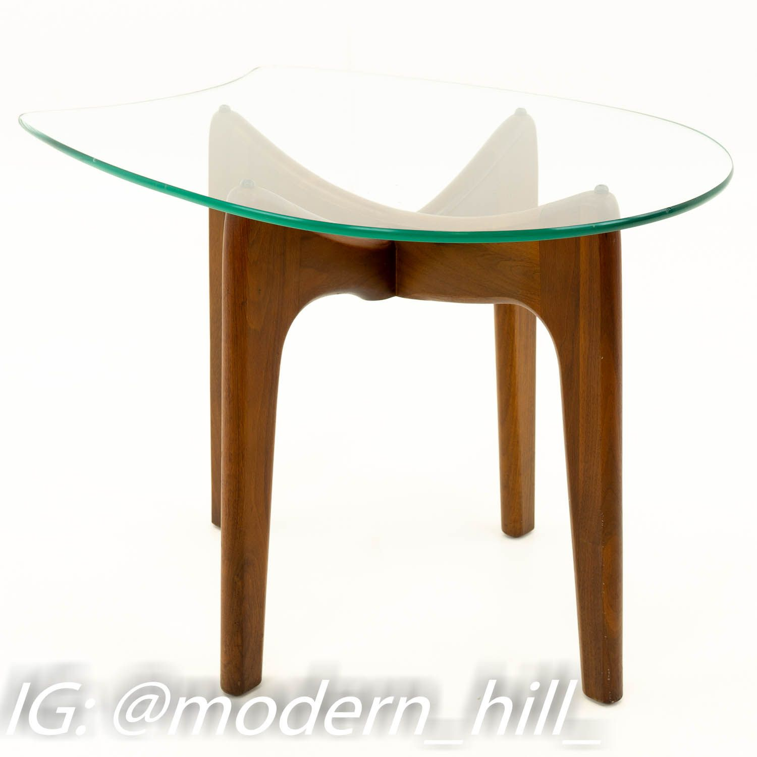 Adrian Pearsall Sculpted Walnut Mid Century Modern Side End Table With Stingray Glass Mid Century Modern Side Table Walnut Side Tables Modern Side Table [ 1500 x 1500 Pixel ]