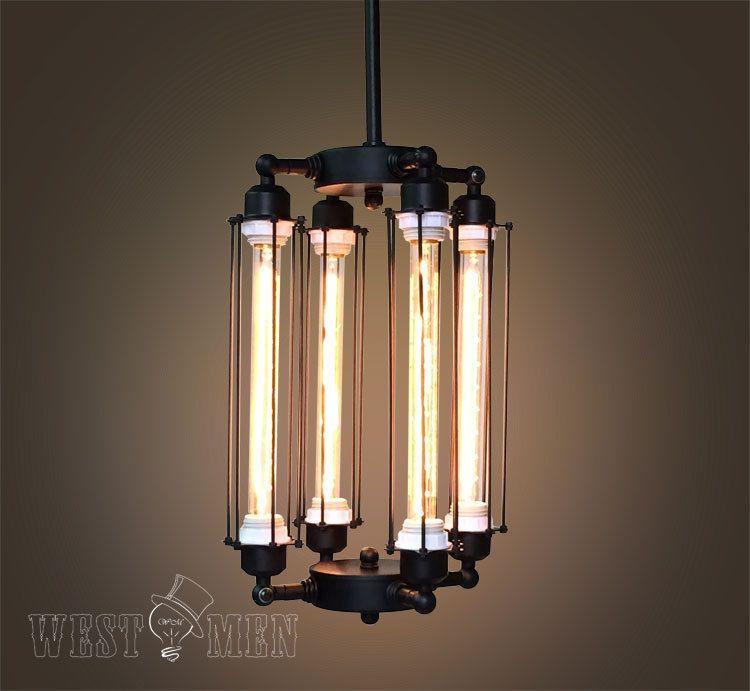 Details About Cube Cage Chandelier Steampunk Ceiling Lamp Vintage