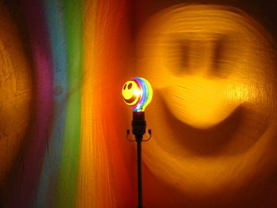 Rainbow Hy Smiley Face Painted Projection Moodlight Bulb Night Lights Kids Lamp Room Decor M