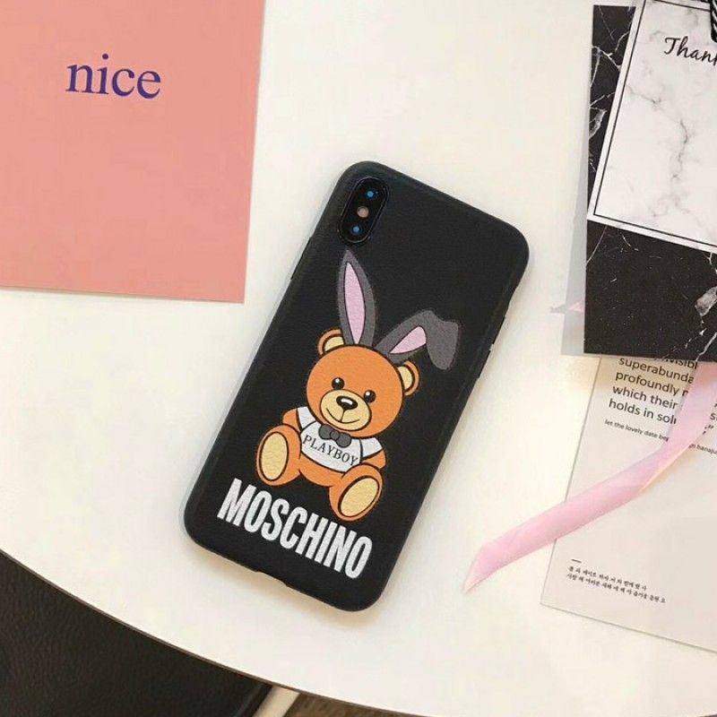 hot sale online dcd73 010bf Moschino Playboy Bear iPhone X Case Black | love moschino outlet ...