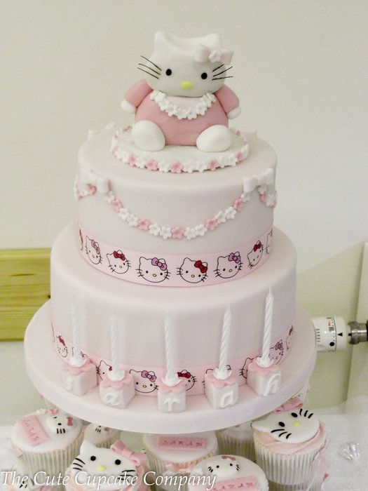 Hello Kitty 2 Tier Birthday Cake And Matching Cupcakes By Paula