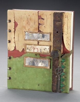 Lost Artifact by sweetmadness, via Flickr. it is bound with the paired needle coptic stitch and decorated with polymer wood, jade, malachite and found objects.