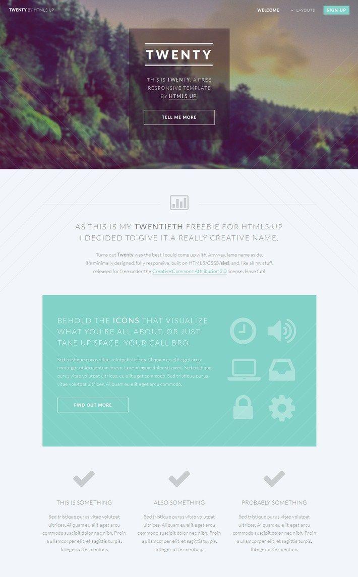 Twenty Free Responsive Template | web design | Pinterest | Pagina ...