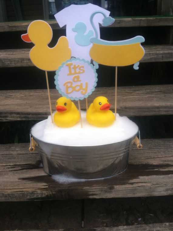 I Want This One For The Party Rubber Duck Baby Shower Centerpiece Boy By  TheChirpingCow On