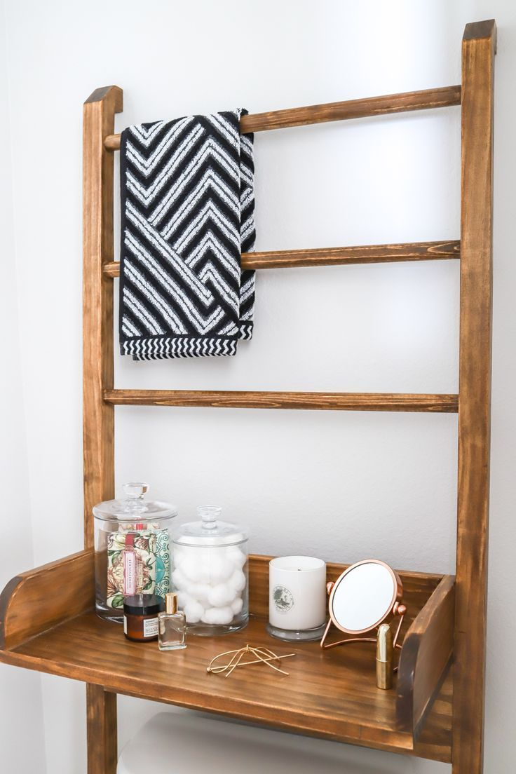 How to make a diy leaning ladder bathroom shelf tinybathrooms