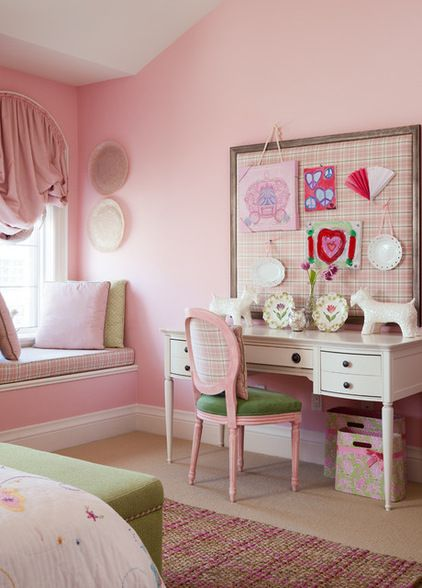 Pink Bedroom Walls White Trim Window Seat Arched Traditional Kids By Merigo Design