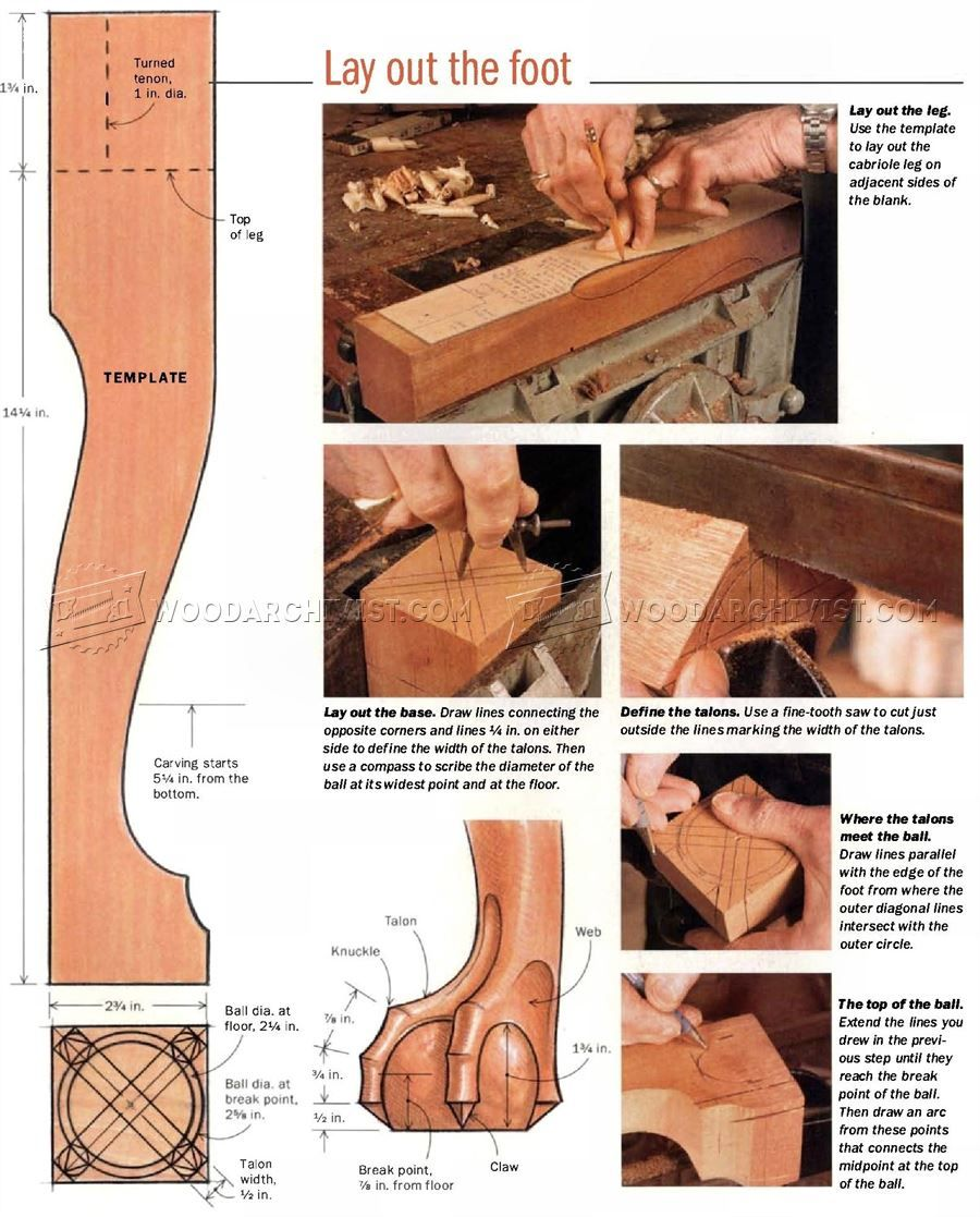 Ball /& Claw Cabriole Leg PINE