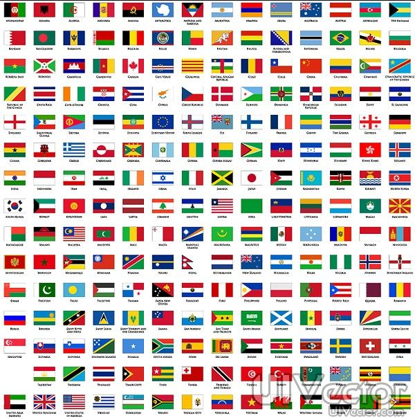 Flat World Of National Flag And Regional Vector Eps Format The Countries Flags Their Short Names