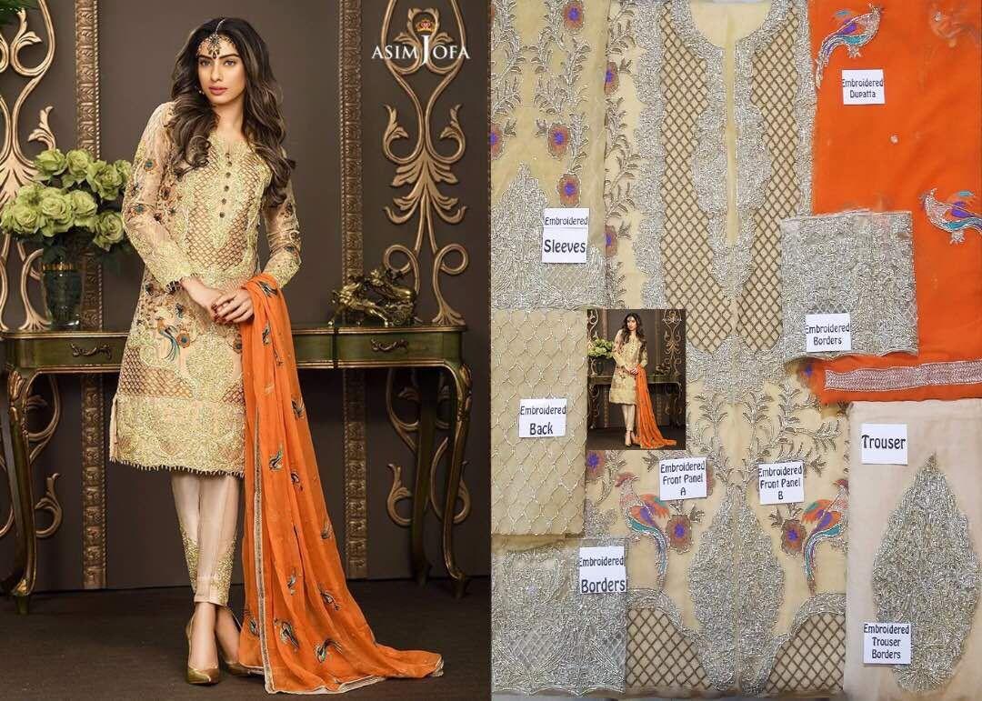 Asim Jofa, Asim Jofa Embroidered Chiffon Dress, Asim Jofa Chiffon ...