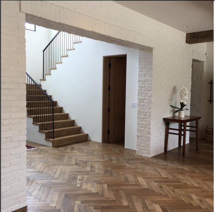 80 Modern Farmhouse Staircase Decor Ideas 64: White Brick Houses, White Brick, Entry Stairs