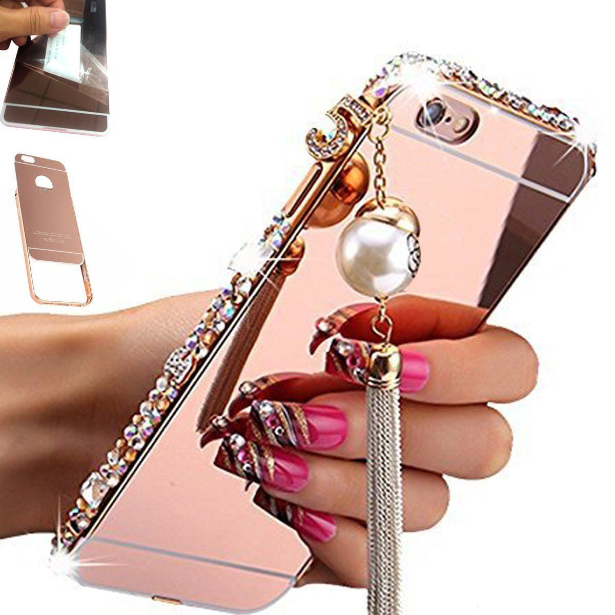 711 bling crystal diamond mirror case metal bumper