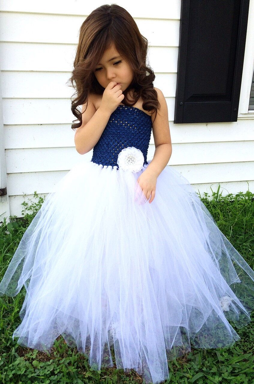Navy Blue And White Flower Girl Wedding Tutu Dress Flower Girl