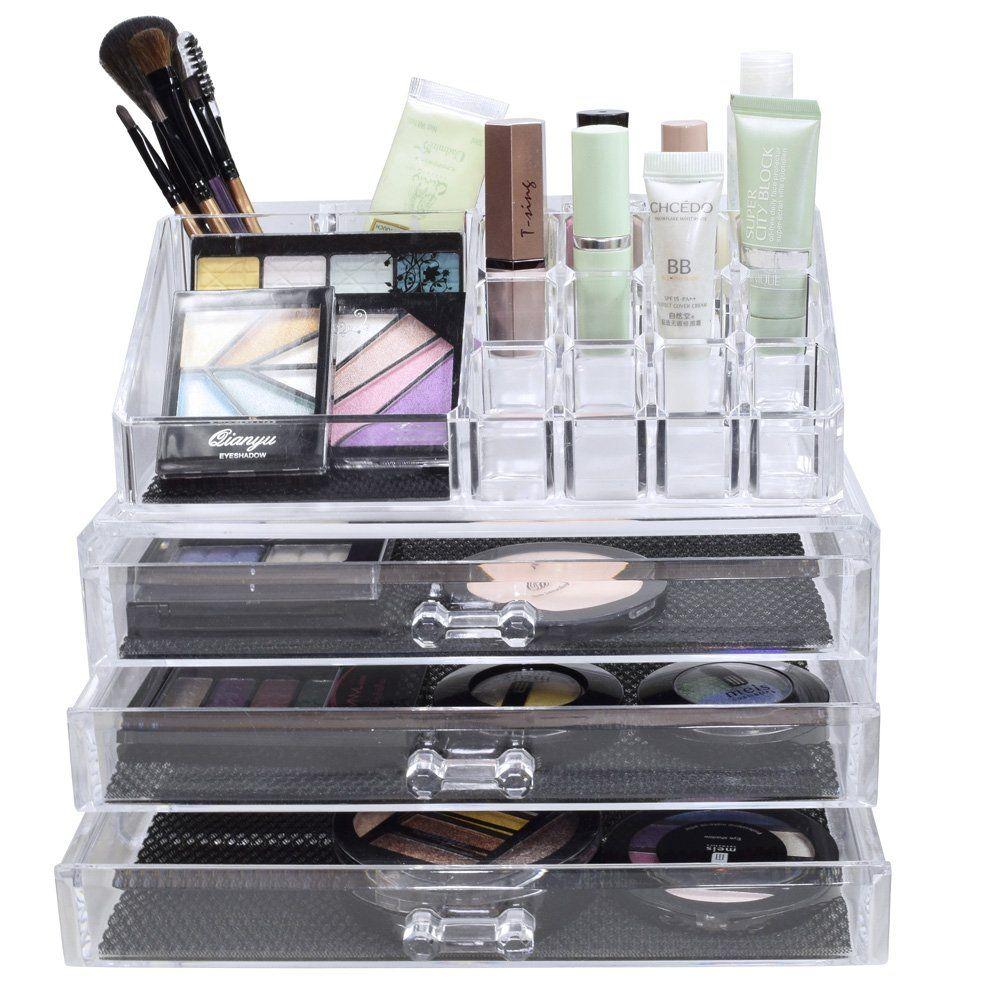Amazon Com Nilecorp Acrylic Jewelry Cosmetic Storage Display Boxes Two Pieces Set Cosmetics Organizers Cosmetic Storage Acrylic Jewellery Display Boxes