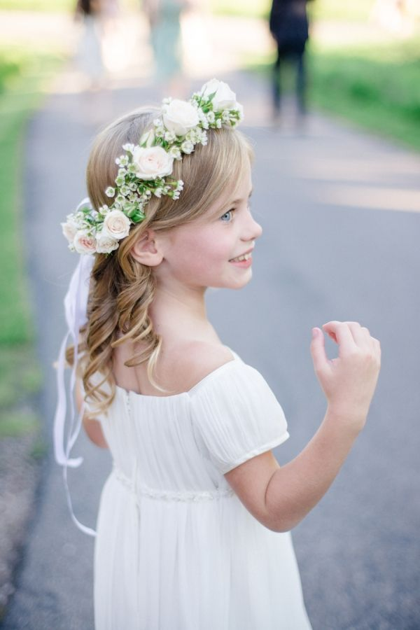 Pretty flower girl in 2018 bridesmaids and flower girls simple flower girl dresses simple flower crown flower girl halo flower girls mightylinksfo